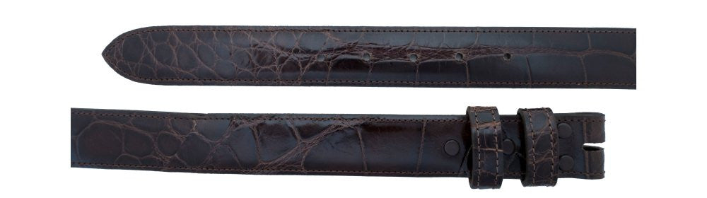 "1 1/4"" Straight Chocolate Alligator Belt $285 - Santa Fe Buckle Company"