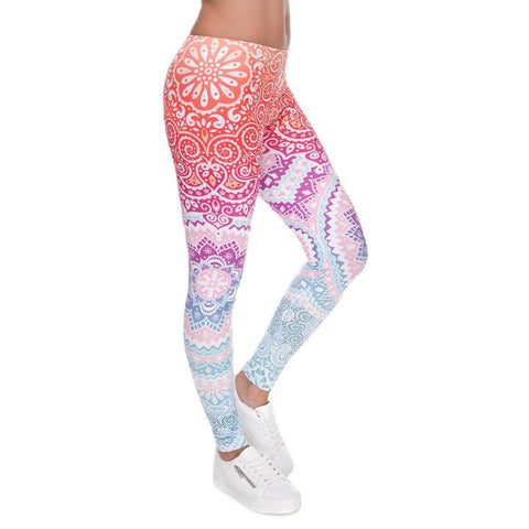 Slim High Waist Gradient Mehndi Workout Leggings