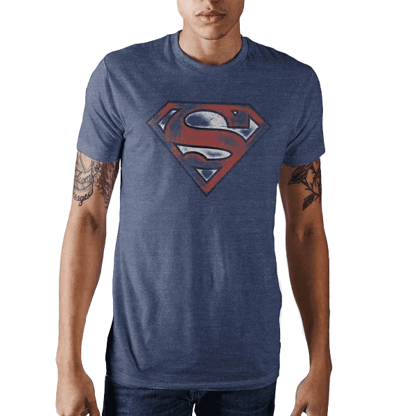 Distressed Superman Navy T-Shirt