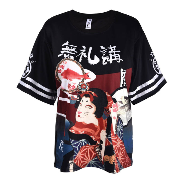 Japanese Print Loose Fitted Jersey