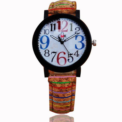 Colorful Classic Cork Band Watch