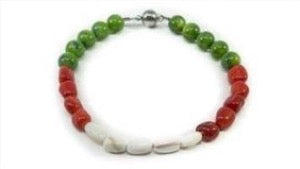 Red Coral Bamboo, White Shell, And Moss Green Dyed Mother Of Pearl Beaded Bracelet