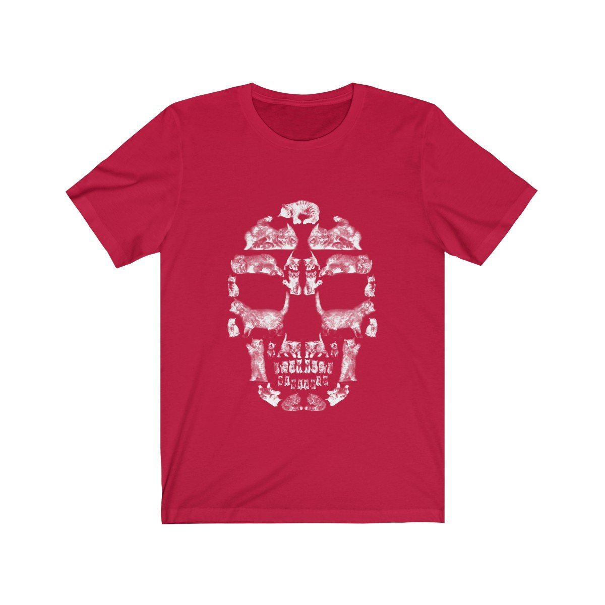 Kitten Skull - White - Unisex Jersey Short Sleeve Tee T-Shirt Printify Red XS