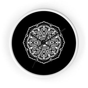 Mandala Black - Wall clock Wall Clock Printify 10 in White Black