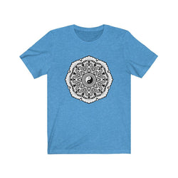 Mandala White & Black - Unisex Jersey Short Sleeve Tee T-Shirt Printify Heather Columbia Blue L