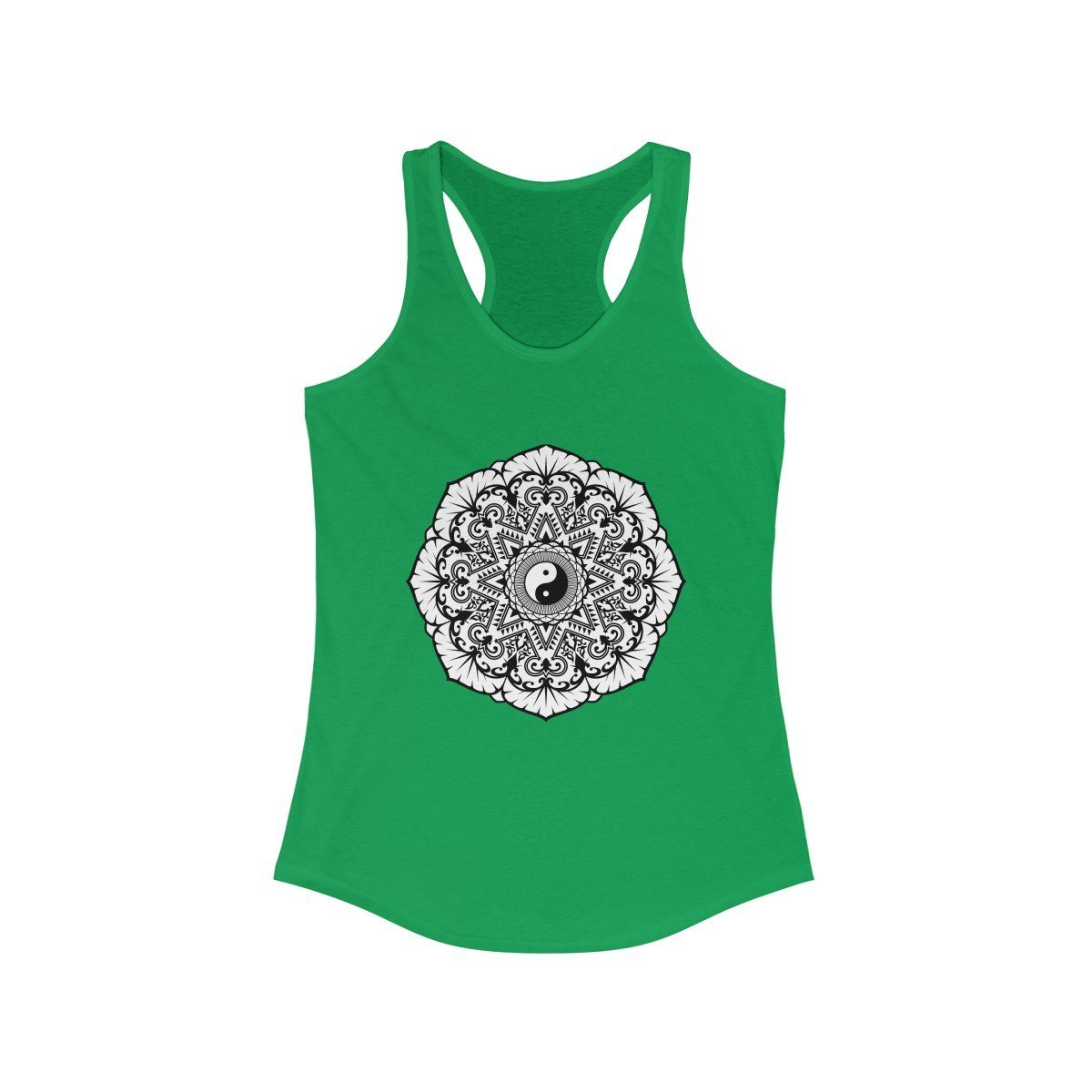 Mandala Black & White - Women's Ideal Racerback Tank Tank Top Printify Solid Kelly Green XS