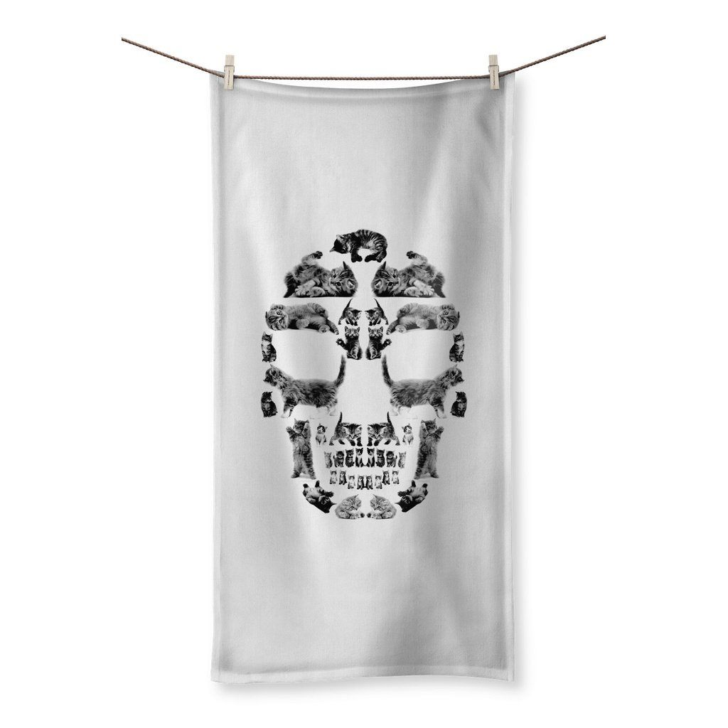"Kitten Skull Black Towel Towel kite.ly 31.5""x63.0"""