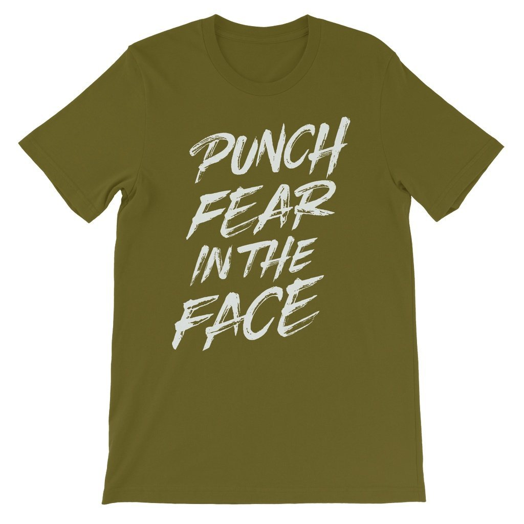 Punch Fear in the Face White Unisex Short Sleeve T-Shirt T-Shirt kite.ly S Olive
