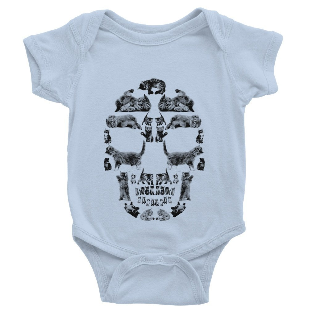 Kitten Skull Black Baby Bodysuit Bodysuit kite.ly 0-3 Months Dusty Blue