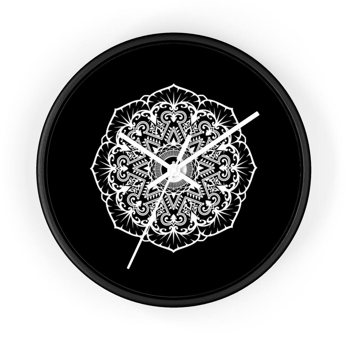 Mandala Black - Wall clock Wall Clock Printify 10 in Black White