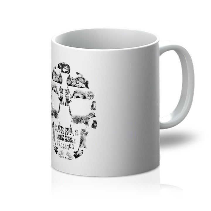Kitten Skull Black Mug Mug kite.ly 11oz