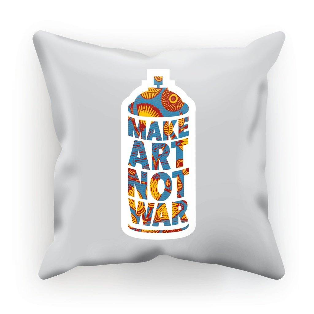 "Make Art Not War African Pattern Cushion Cushion kite.ly Faux Suede 18""x18"""
