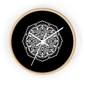 Mandala Black - Wall clock Wall Clock Printify 10 in Wooden White