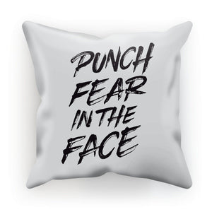 "Punch Fear in the Face Black Cushion Cushion kite.ly Linen 18""x18"""