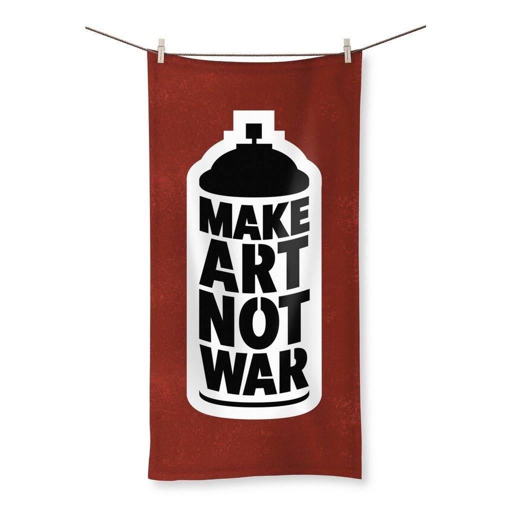 "Make Art Not War - Red Towel Towel kite.ly 19.7""x39.4"""