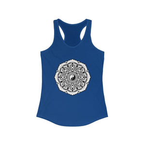 Mandala Black & White - Women's Ideal Racerback Tank Tank Top Printify Solid Royal XS