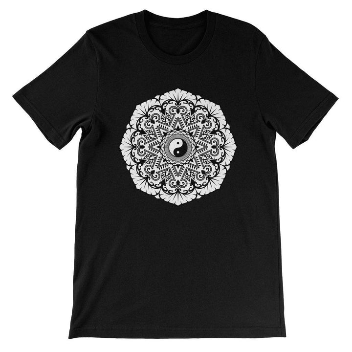 Mandala Unisex Short Sleeve T-Shirt T-Shirt kite.ly S Black