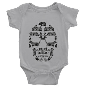 Kitten Skull Black Baby Bodysuit Bodysuit kite.ly 0-3 Months Heather Grey