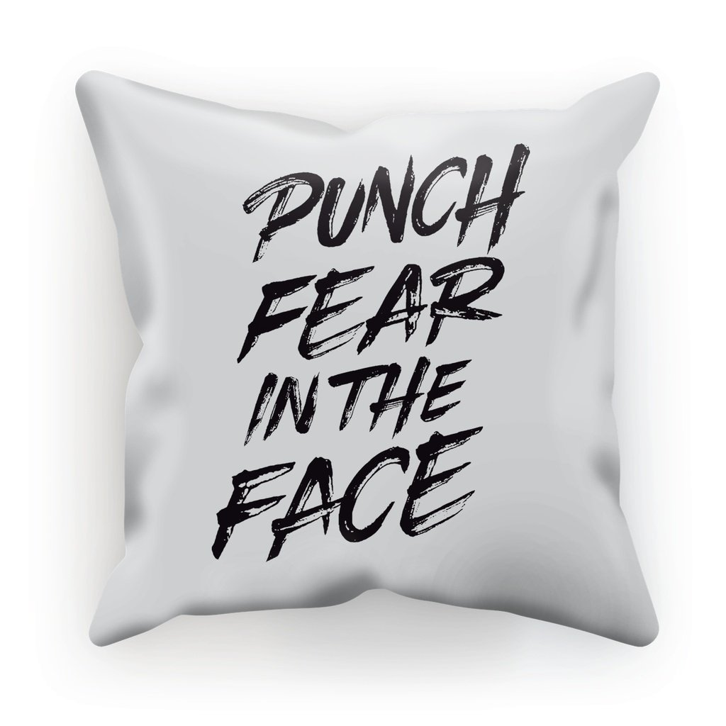 "Punch Fear in the Face Black Cushion Cushion kite.ly Faux Suede 12""x12"""