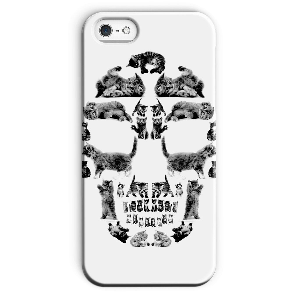 Kitten Skull Black Phone Case Phone kite.ly iPhone SE Snap Gloss