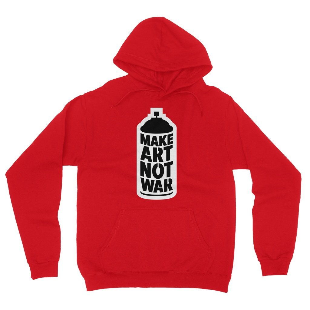 Make Art Not War Fleece Pullover Hoodie Hoodie kite.ly S Red