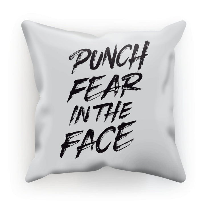 Punch Fear in the Face Black Cushion Cushion kite.ly Linen 12