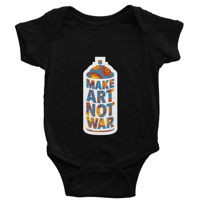 Make Art Not War African Pattern Baby Bodysuit Bodysuit kite.ly 0-3 Months Black