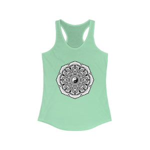 Mandala Black & White - Women's Ideal Racerback Tank Tank Top Printify Solid Mint XS