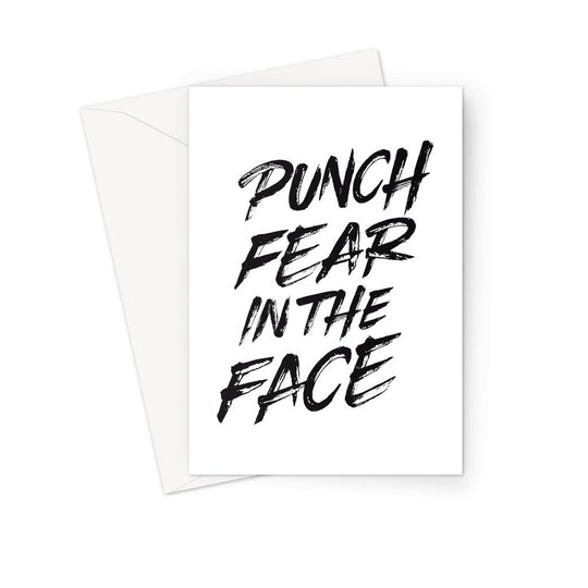 Punch Fear in the Face Black Greeting Card Prints kite.ly 1 Card