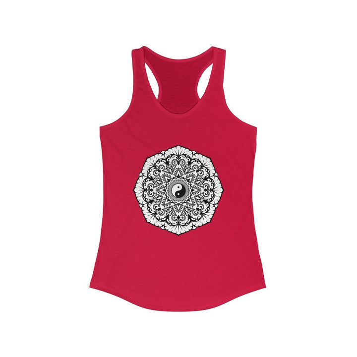 Mandala Black & White - Women's Ideal Racerback Tank Tank Top Printify Solid Red L