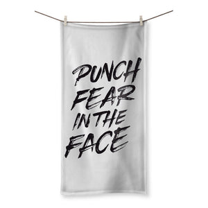 "Punch Fear in the Face Black Towel Towel kite.ly 27.5""x55.0"""