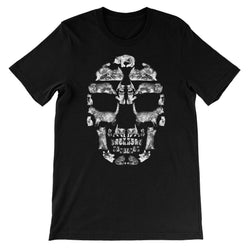 Kitten Skull White Unisex Short Sleeve T-Shirt T-Shirt kite.ly S Black