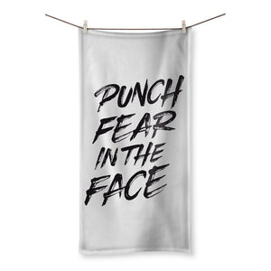 "Punch Fear in the Face Black Towel Towel kite.ly 31.5""x63.0"""