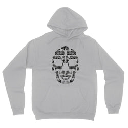 Kitten Skull Black Fleece Pullover Hoodie Hoodie kite.ly S Light Grey Marble Fleece