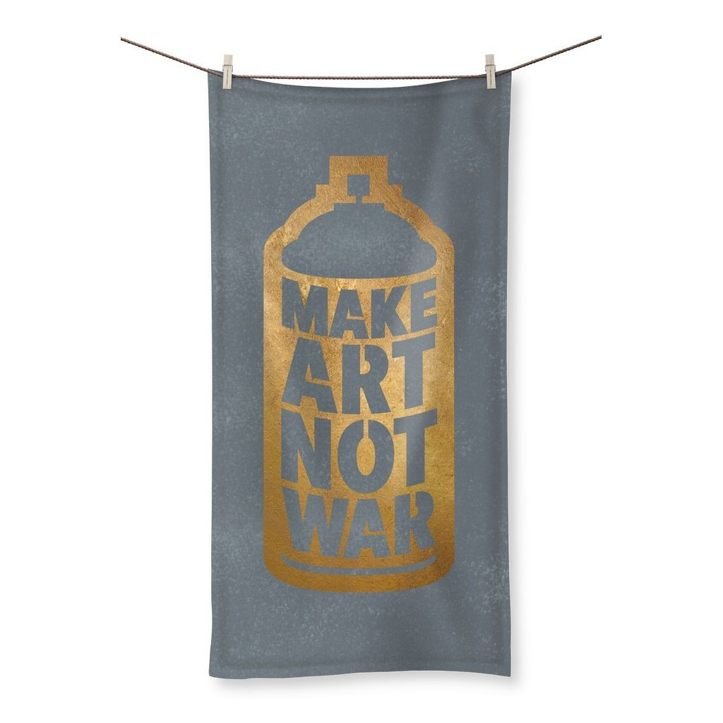"Make Art Not War - Gold/Grey Towel Towel kite.ly 19.7""x39.4"""