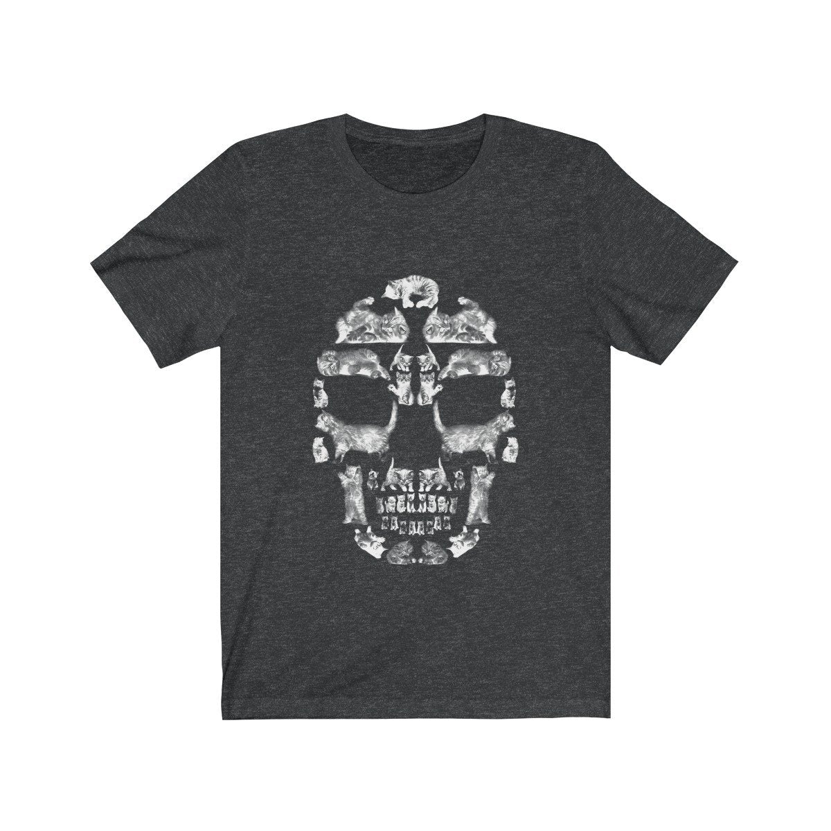 Kitten Skull - White - Unisex Jersey Short Sleeve Tee T-Shirt Printify Dark Grey Heather XS