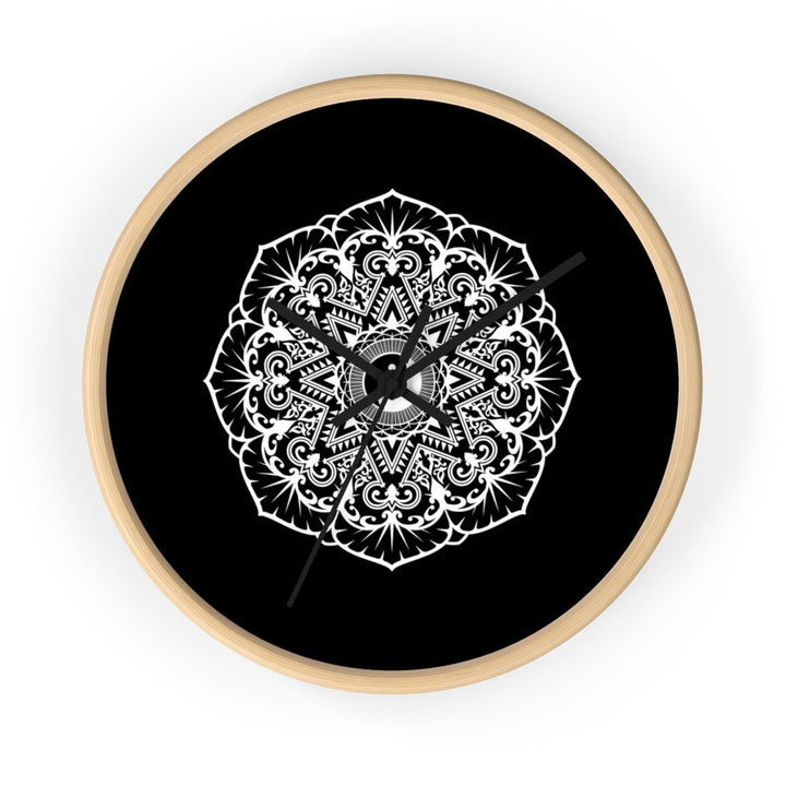 Mandala Black - Wall clock Wall Clock Printify 10 in Wooden Black