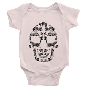 Kitten Skull Black Baby Bodysuit Bodysuit kite.ly 0-3 Months Powder Pink