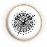 Mandala White - Wall clock Wall Clock Printify 10 in Wooden Black