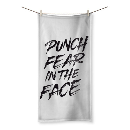Punch Fear in the Face Black Towel Towel kite.ly 19.7