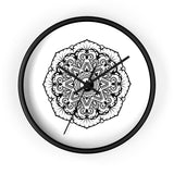 Mandala White - Wall clock Wall Clock Printify 10 in Black Black