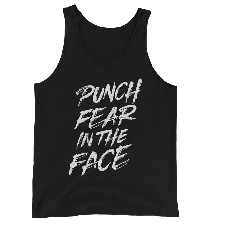 Punch Fear in the Face White Unisex Jersey Tank Top Tank Top kite.ly S Black