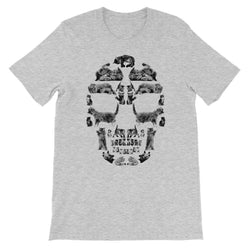 Kitten Skull Black Unisex Short Sleeve T-Shirt T-Shirt kite.ly S Athletic Heather