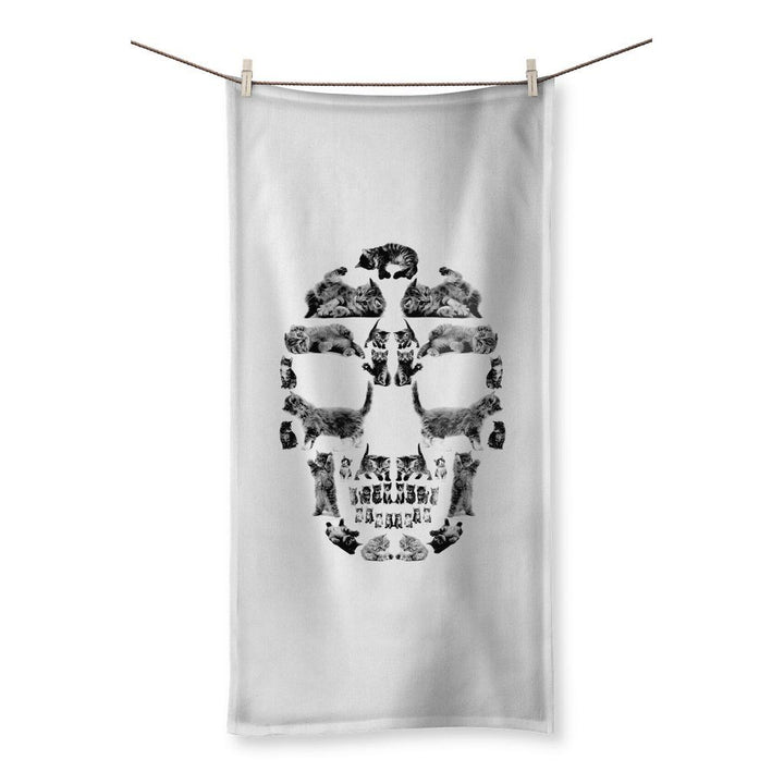 Kitten Skull Black Towel Towel kite.ly 19.7