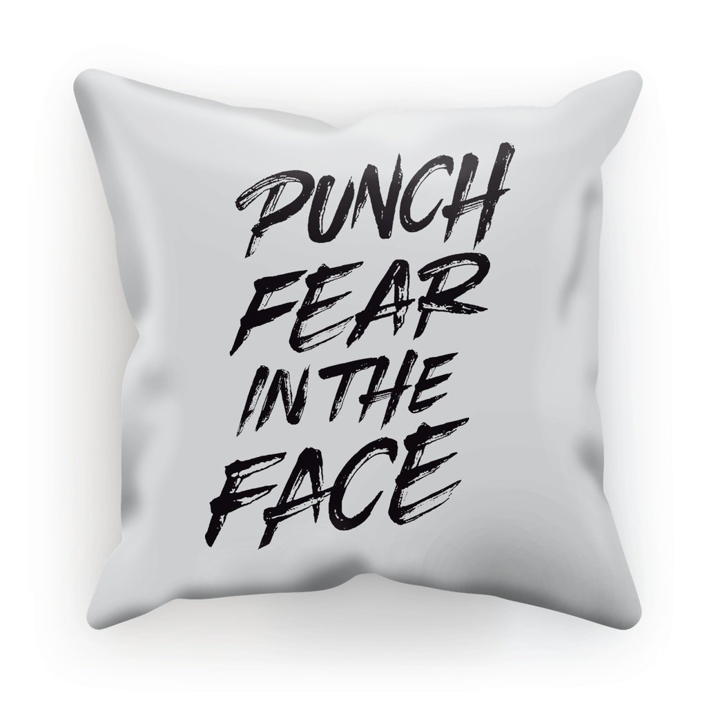 "Punch Fear in the Face Black Cushion Cushion kite.ly Faux Suede 18""x18"""