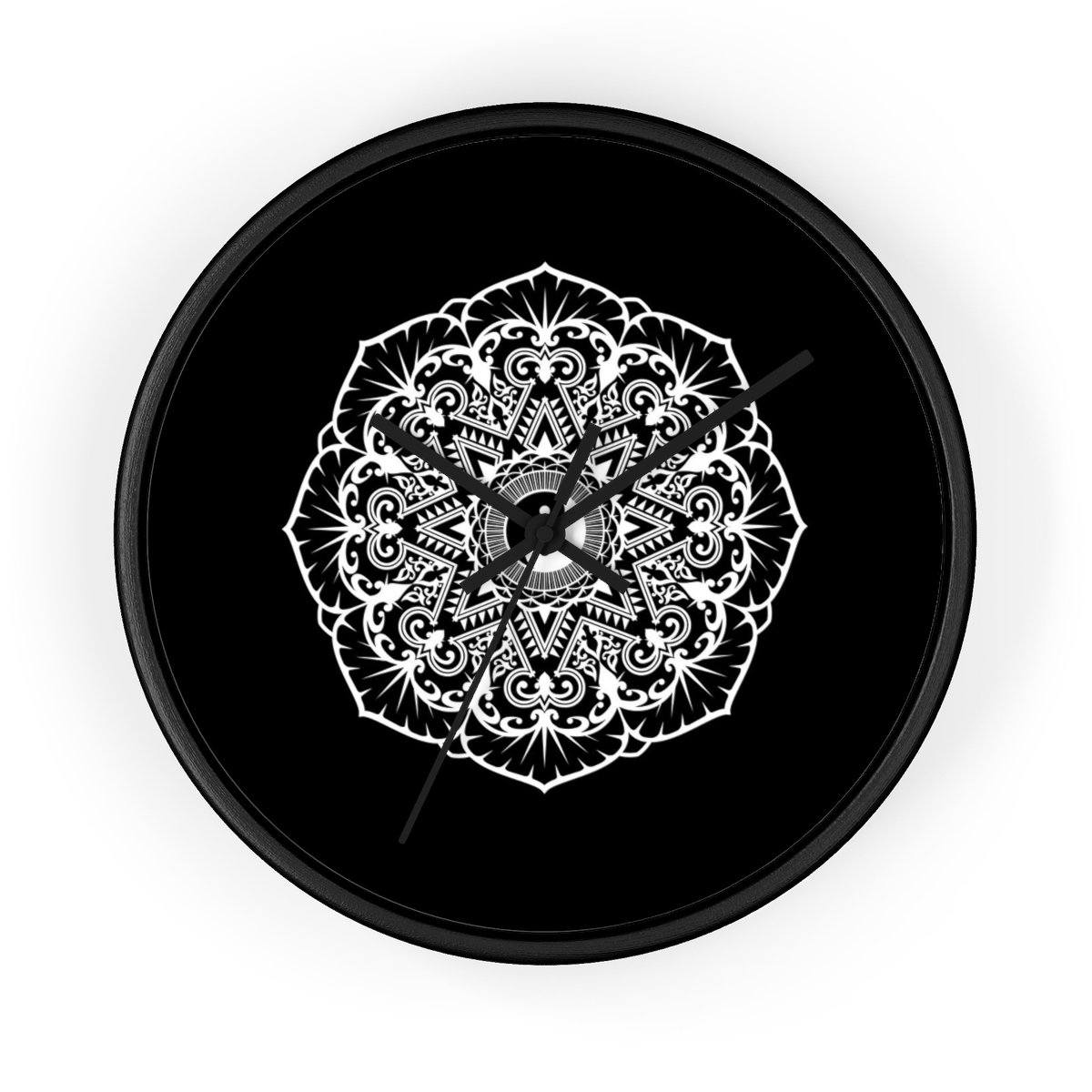 Mandala Black - Wall clock Wall Clock Printify 10 in Black Black