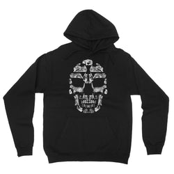 Kitten Skull White Fleece Pullover Hoodie
