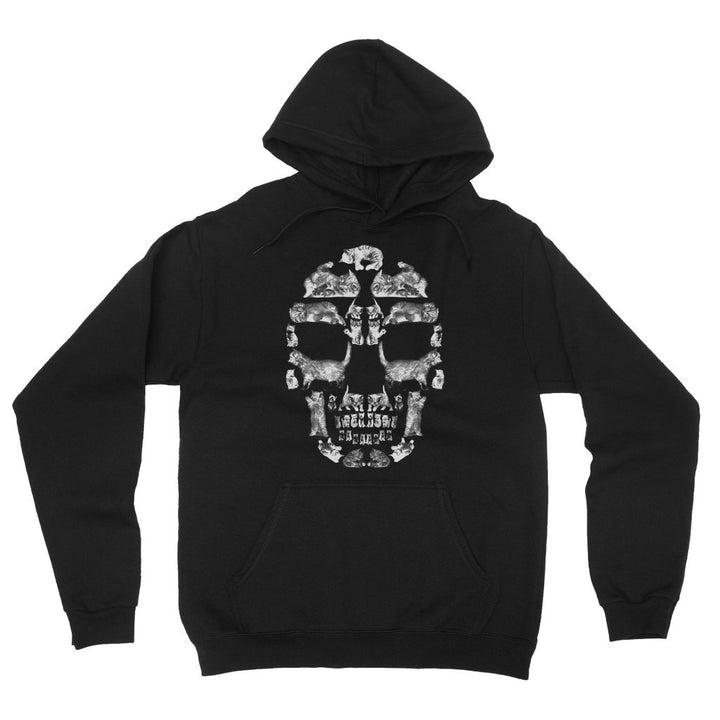 Kitten Skull White Fleece Pullover Hoodie Hoodie kite.ly S Black