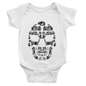Kitten Skull Black Baby Bodysuit Bodysuit kite.ly 0-3 Months White