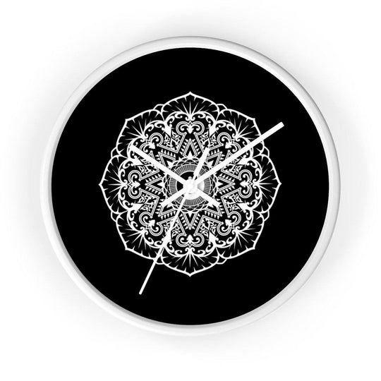 Mandala Black - Wall clock Wall Clock Printify 10 in White White